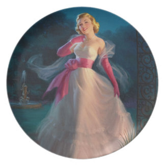 Retro 1950s Woman During Evening Dinner Plate