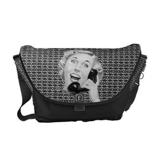 Retro 1950s Woman on Phone Messenger Bag