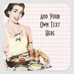 Retro 1950s Woman with Lunch Tray Sticker