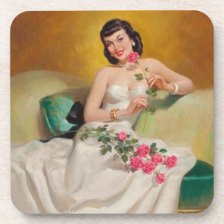 Retro 1950s Woman With Roses Beverage Coaster