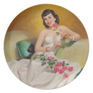 Retro 1950s Woman With Roses Dinner Plate