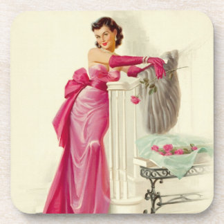 Retro 1950s Woman With Roses Drink Coaster