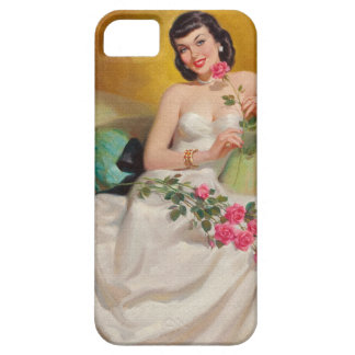 Retro 1950s Woman With Roses iPhone SE/5/5s Case