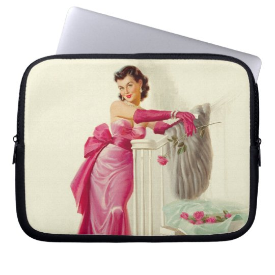 Retro 1950s Woman With Roses Laptop Sleeve