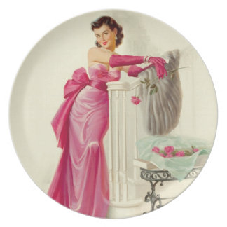 Retro 1950s Woman With Roses Melamine Plate