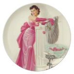 Retro 1950s Woman With Roses Plate