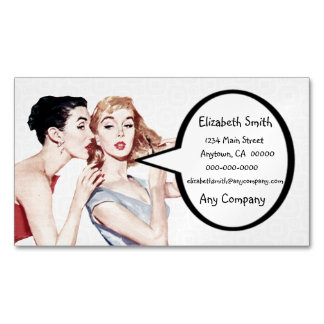 Retro 1950s Women Gossipers Magnetic Business Cards