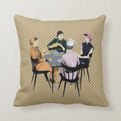 Retro 1950s Women Playing Cards Pillows