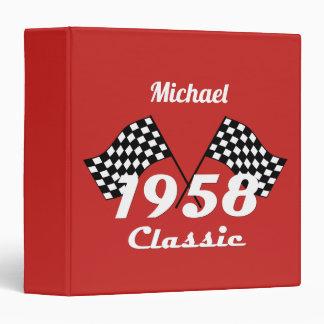 Retro 1958 Classic Black & White Checked Race Flag Binder
