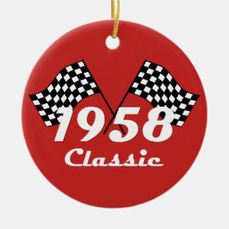 Retro 1958 Classic Black & White Checked Race Flag Ceramic Ornament