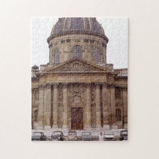 Retro 1960 Ancient Church In Paris France Cars Puzzle