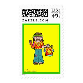 Retro 1960 Hippie in Tie-Dye Stamp
