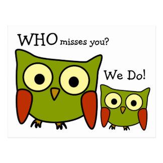 Retro 1960 s Owl Miss You Postcard
