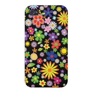 Retro 1960-x colorful Flower Power Cases For iPhone 4