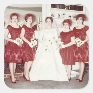 Retro 1960s Bridal Party Square Sticker