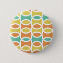 Retro 1960s Circles Ovals Orange Teal Gold Button