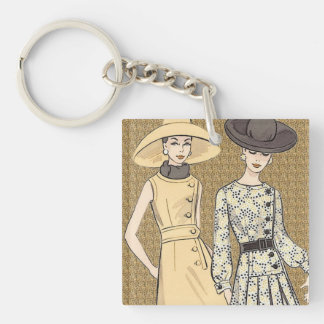 Retro 1960s Fashion Keychain