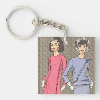 Retro 1960s Fashion Keychain