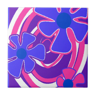 "Retro 1960's Flower Galaxy Ceramic Tiles 4.25"" sq"