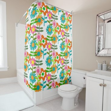 keegancreations Retro 1960's Flowers Shower Curtain