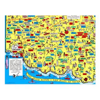 Retro 1966 Cincinnati, Ohio map postcard