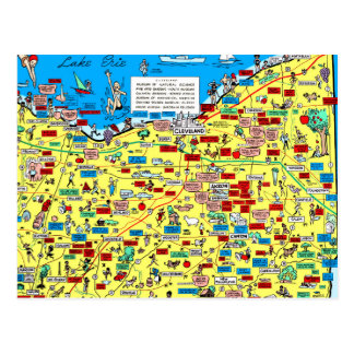 Retro 1966 Cleveland, Ohio map postcard