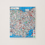 """Retro 1966 Ohio map Jigsaw Puzzle<br><div class=""""desc"""">This is a touched-up,  reproduction of an actual 1966 Ohio Department of Highways map. It&#39;s covered with little cartoon characters which are sunbathing,  picnicking,  golfing,  driving,  and engaging in many other leisure activities.</div>"""