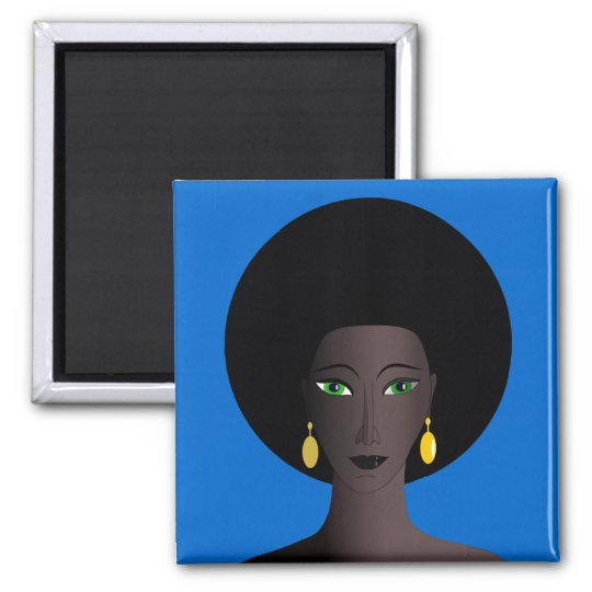 Retro 1970s Afro Green Eyed Woman Cartoon Figure 2 Inch Square Magnet
