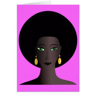 Retro 1970s Afro Green Eyed Woman Cartoon Figure Cards