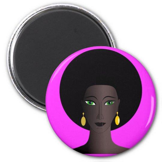 Retro 1970s Afro Green Eyed Woman Cartoon Figure Magnet