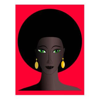 Retro 1970s Afro Green Eyed Woman Cartoon Figure Postcard