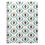 Retro 1970's Geometric Pattern in Brown and Green Spiral Note Book