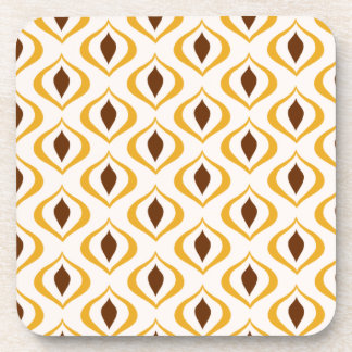 Retro 1970's Geometric Pattern in Brown and Yellow Beverage Coaster