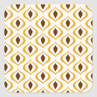 Retro 1970's Geometric Pattern in Brown and Yellow Square Sticker