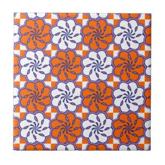 Retro 1970s large floral tile pattern orange white