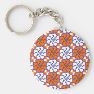 Retro 1970s large floral tile pattern orange white keychain