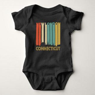 Retro 1970's Style New London Connecticut Skyline Baby Bodysuit