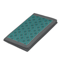 Retro 1970s Teal Turquoise Green Abstract Pattern Trifold Wallet