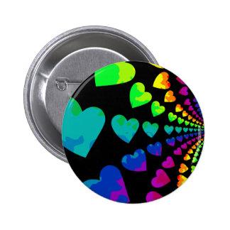 Retro 1980's style rainbow hearts pinback buttons