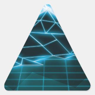 Retro 1980s video game graphic Neon Blue Triangle Sticker