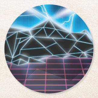 Retro 1980s video game graphic round paper coaster