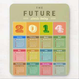 Retro 2014 Calendar - the New Year Starts Today Mouse Pad