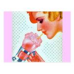 Retro 30's Milkshake Postcard