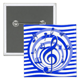 Retro 3D Effect Blue Musical Notes 2 Inch Square Button