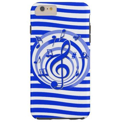 Retro 3D Effect Blue Musical Notes Tough iPhone 6 Plus Case