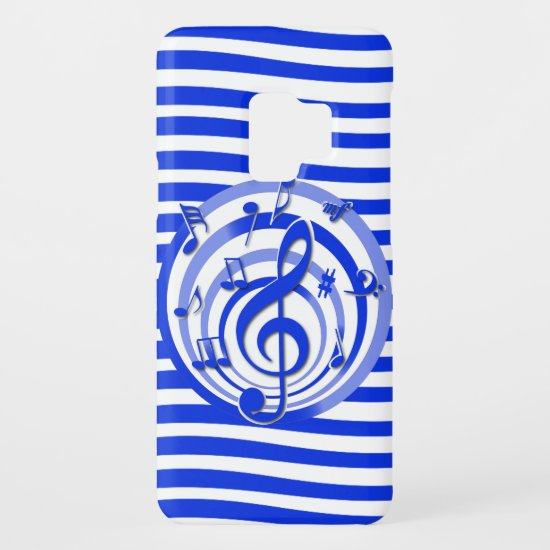 Retro 3D Effect Blue Musical Notes Case-Mate Samsung Galaxy S9 Case