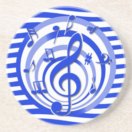 Retro 3D Effect Blue Musical Notes Drink Coaster