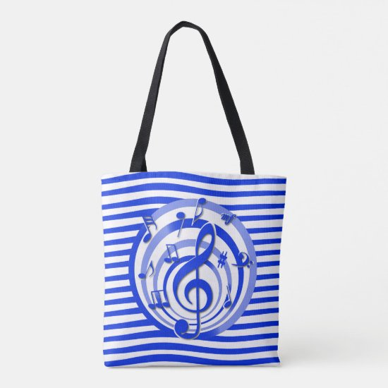 Retro 3D Effect Blue Musical Notes Tote Bag