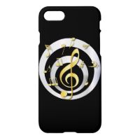 Retro 3D Effect Gold and Silver Musical Notes iPhone 7 Case
