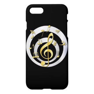 Retro 3D Effect Gold and Silver Musical Notes iPhone 8/7 Case